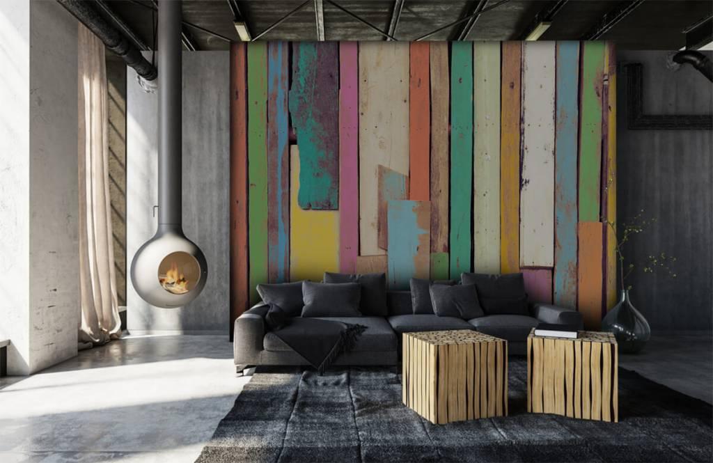 Wooden wallpaper - Colored demolition wood - Bedroom 6