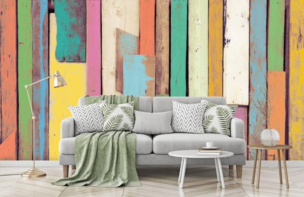 Wooden wallpaper - Colored demolition wood - Bedroom 7