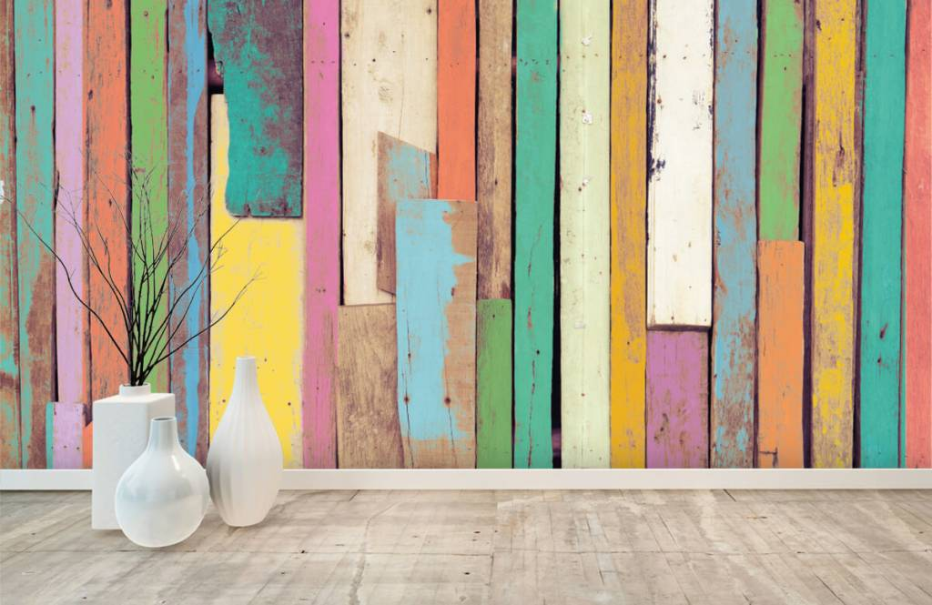 Wooden wallpaper - Colored demolition wood - Bedroom 8