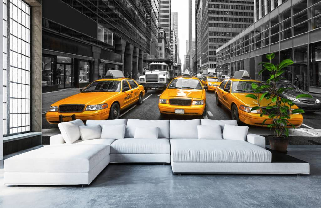 Black and white wallpaper - Yellow taxis in New York - Teenage room 1