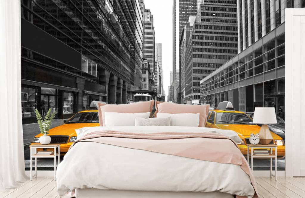 Black and white wallpaper - Yellow taxis in New York - Teenage room 2
