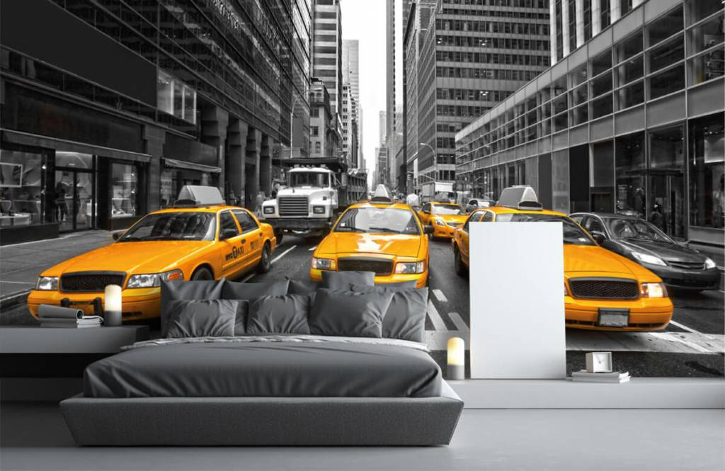 Black and white wallpaper - Yellow taxis in New York - Teenage room 3