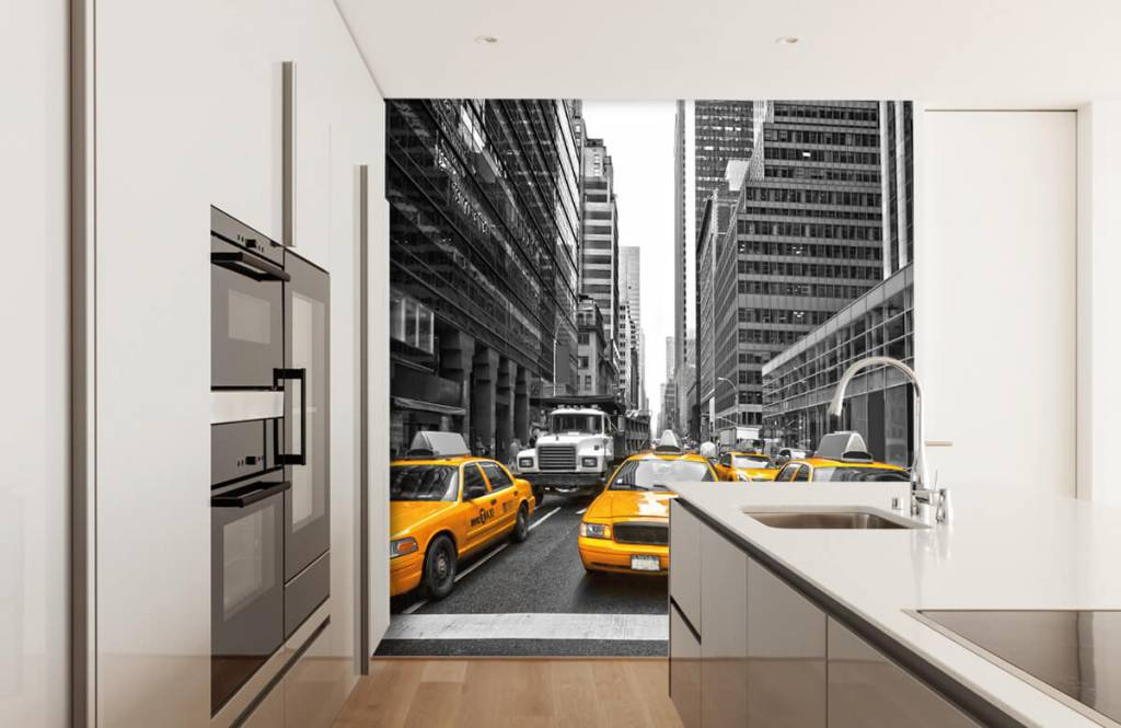 Black and white wallpaper - Yellow taxis in New York - Teenage room 4