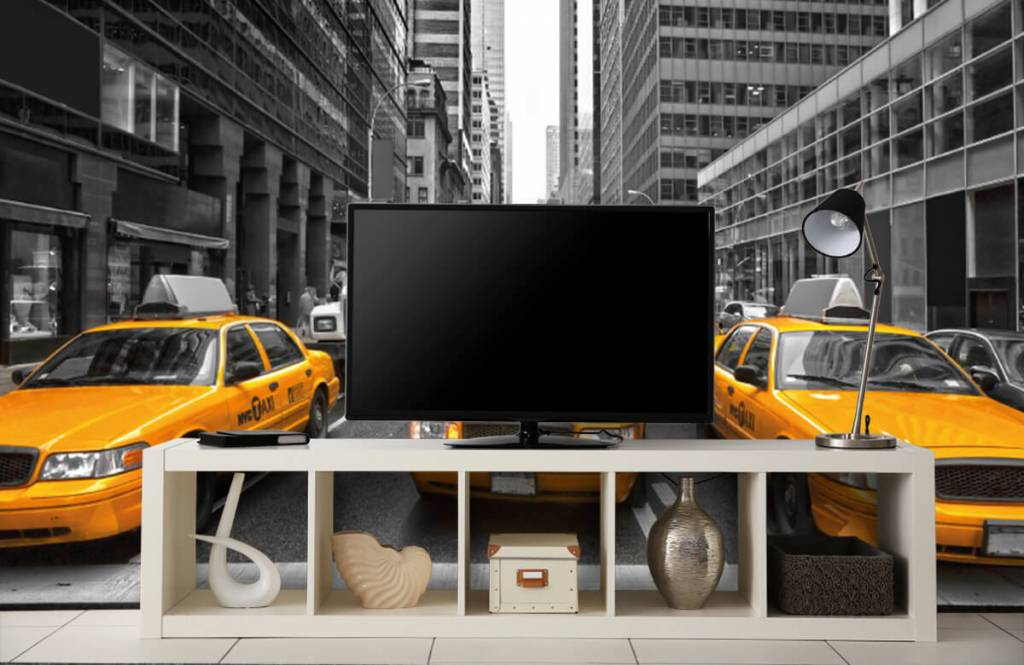 Black and white wallpaper - Yellow taxis in New York - Teenage room 5