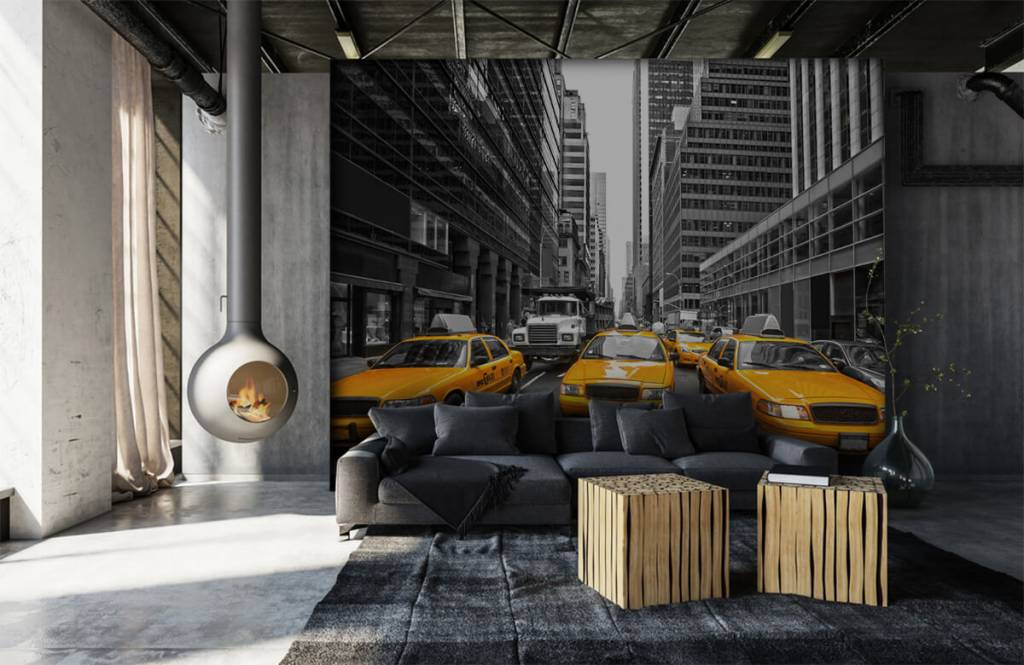 Black and white wallpaper - Yellow taxis in New York - Teenage room 6
