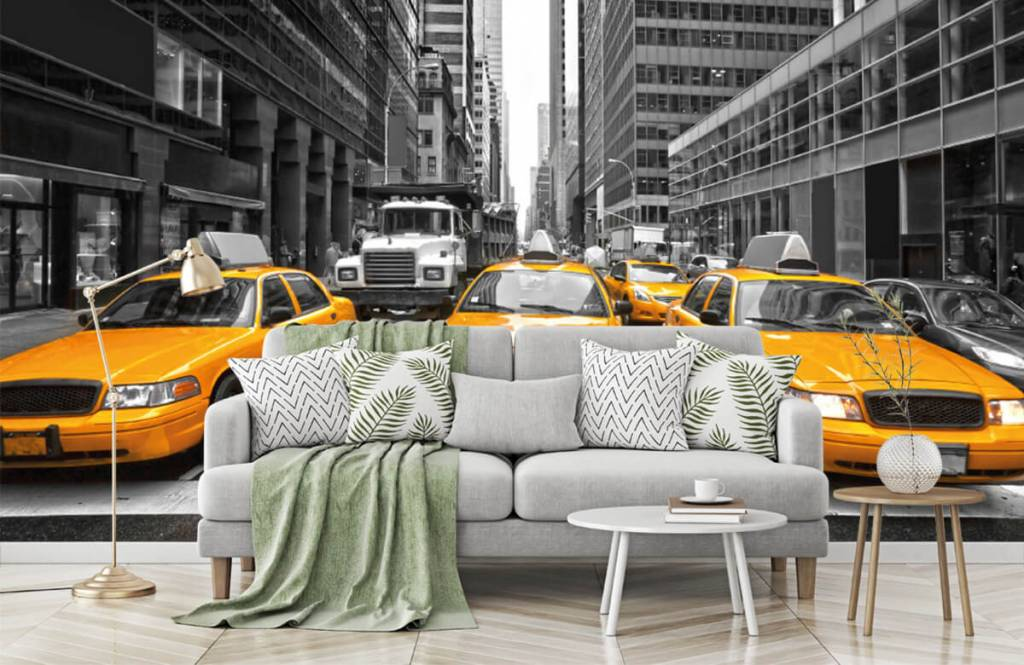 Black and white wallpaper - Yellow taxis in New York - Teenage room 7