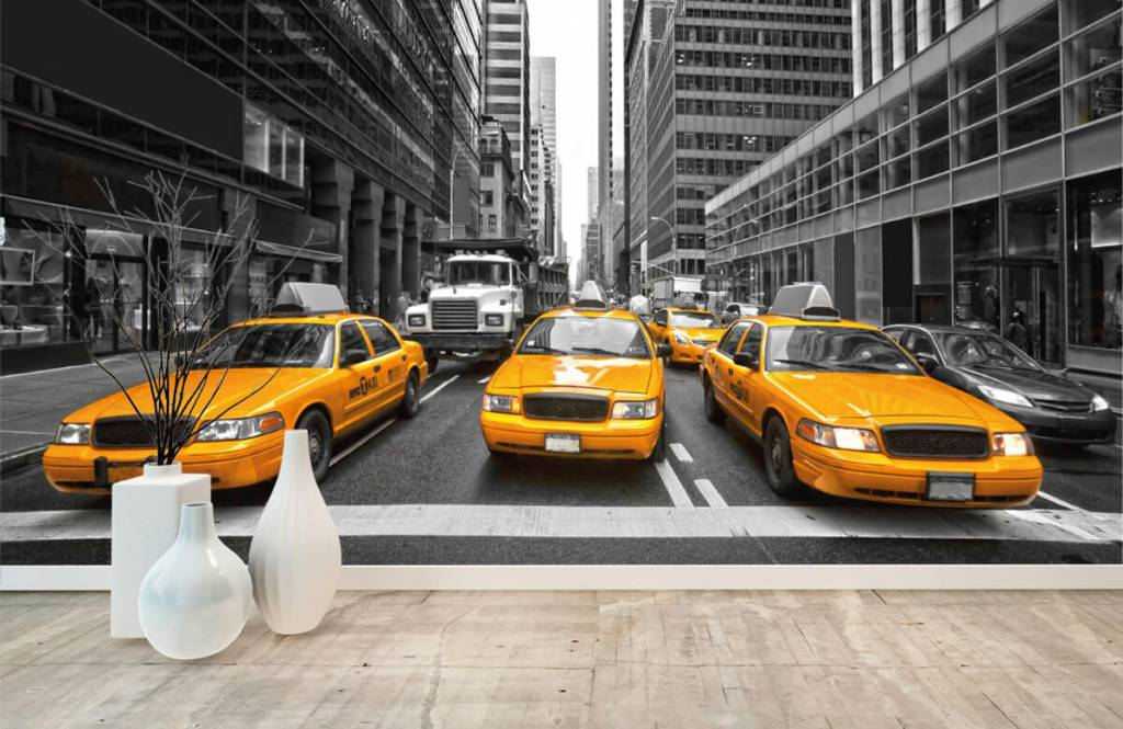 Black and white wallpaper - Yellow taxis in New York - Teenage room 8