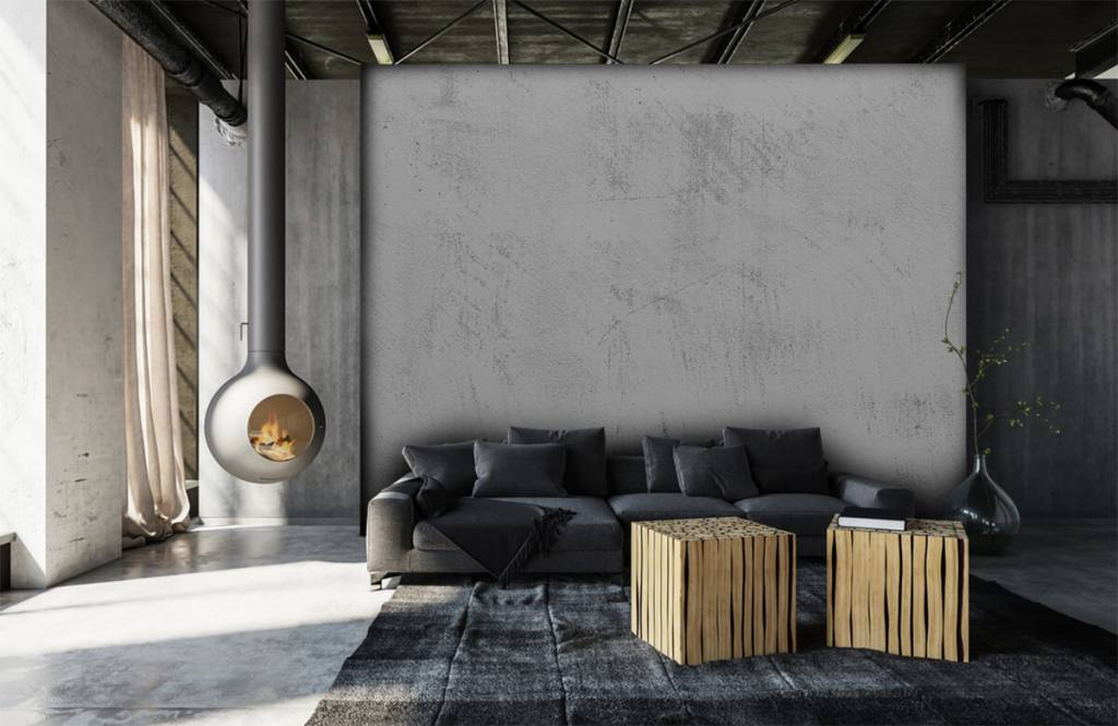 Concrete look wallpaper - Sanded concrete - Living room 6