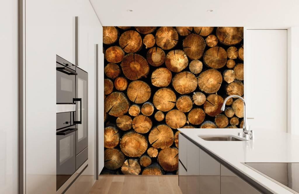 Wooden wallpaper - Stacked truncated trees - Bedroom 1