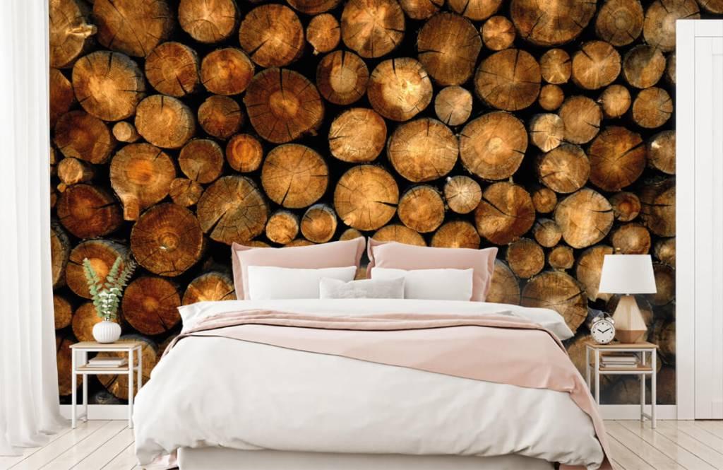 Wooden wallpaper - Stacked truncated trees - Bedroom 2