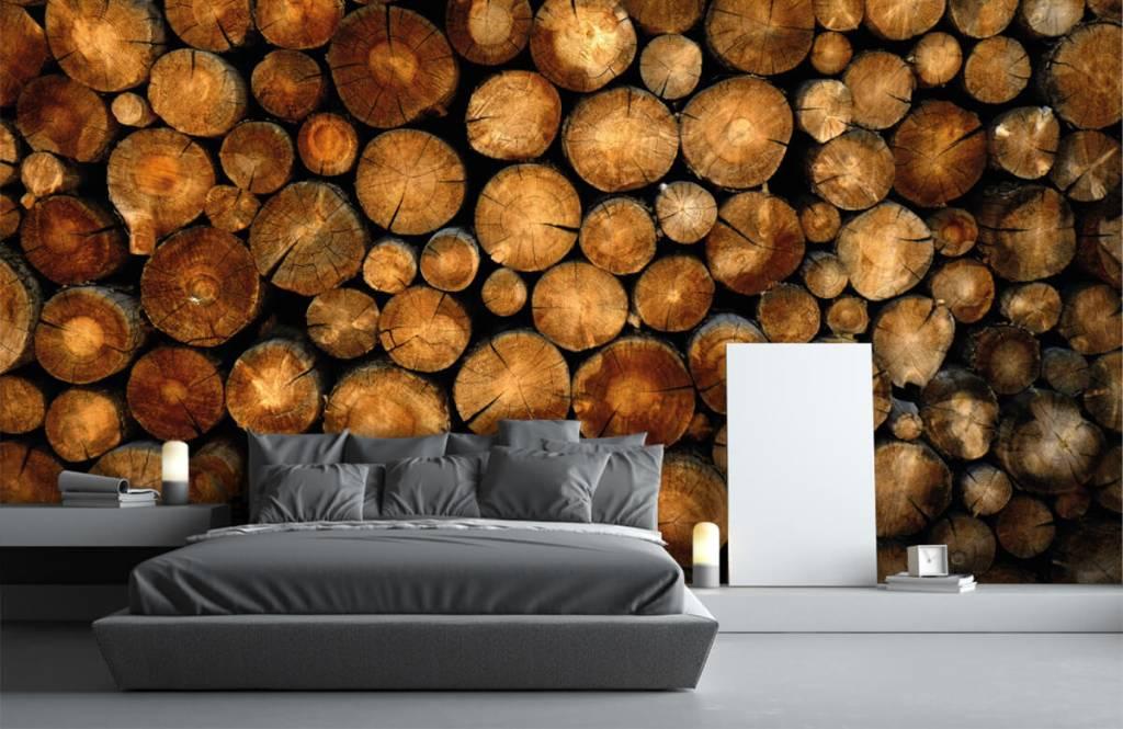 Wooden wallpaper - Stacked truncated trees - Bedroom 3