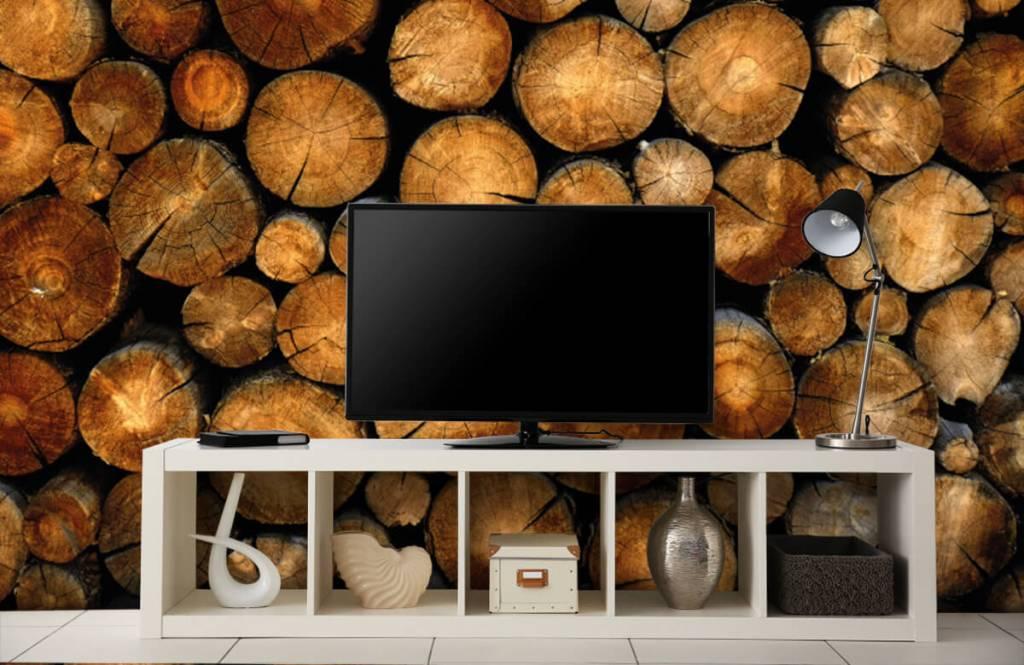 Wooden wallpaper - Stacked truncated trees - Bedroom 4