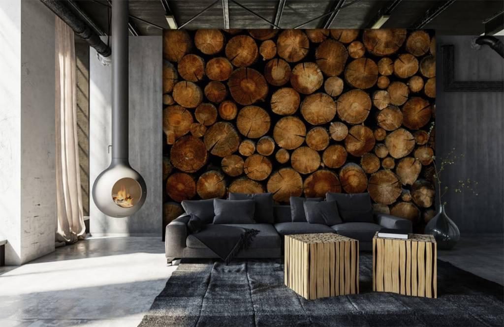 Wooden wallpaper - Stacked truncated trees - Bedroom 6
