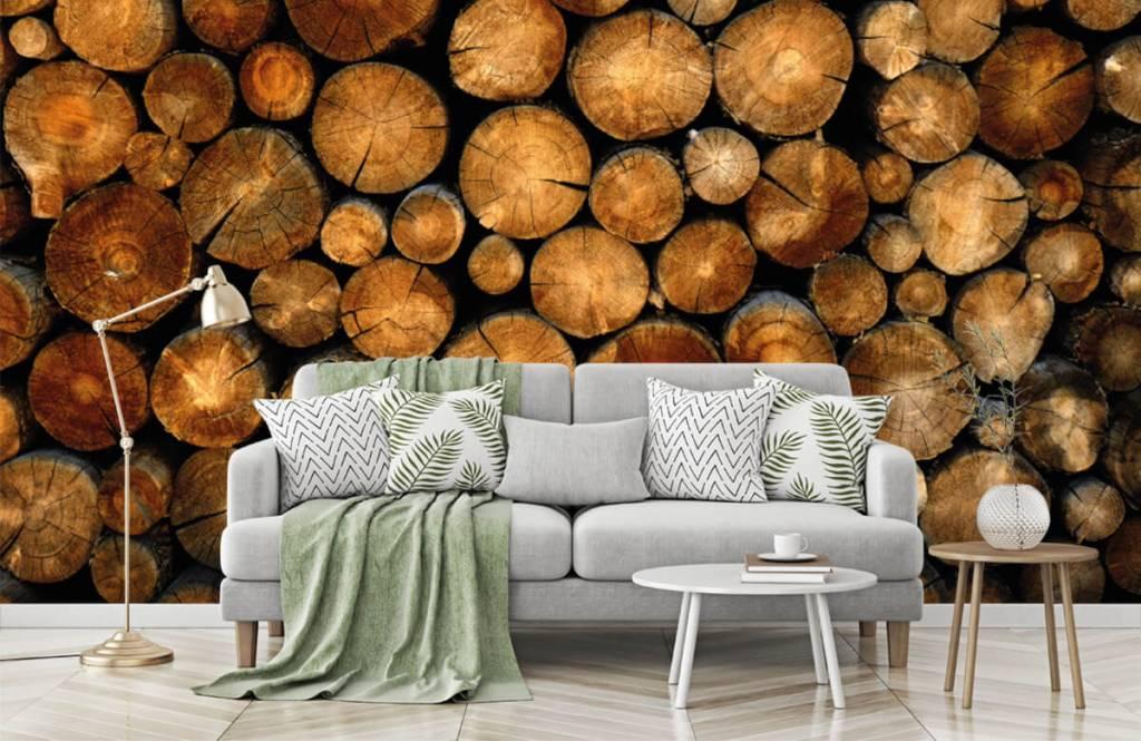 Wooden wallpaper - Stacked truncated trees - Bedroom 7