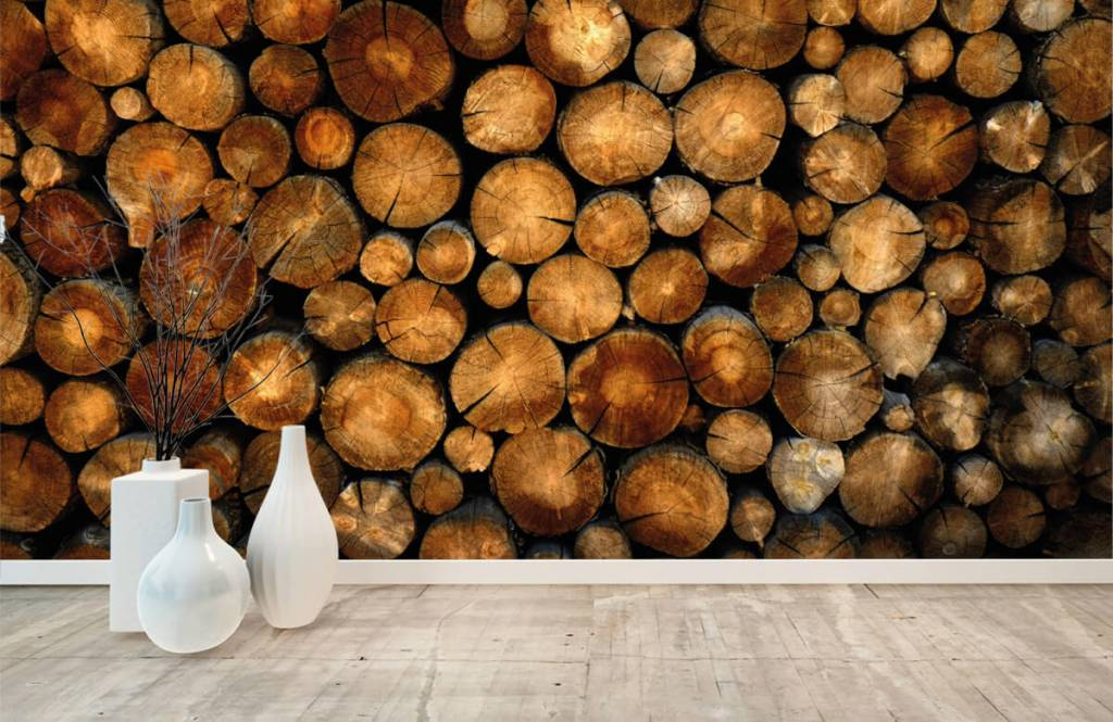 Wooden wallpaper - Stacked truncated trees - Bedroom 8