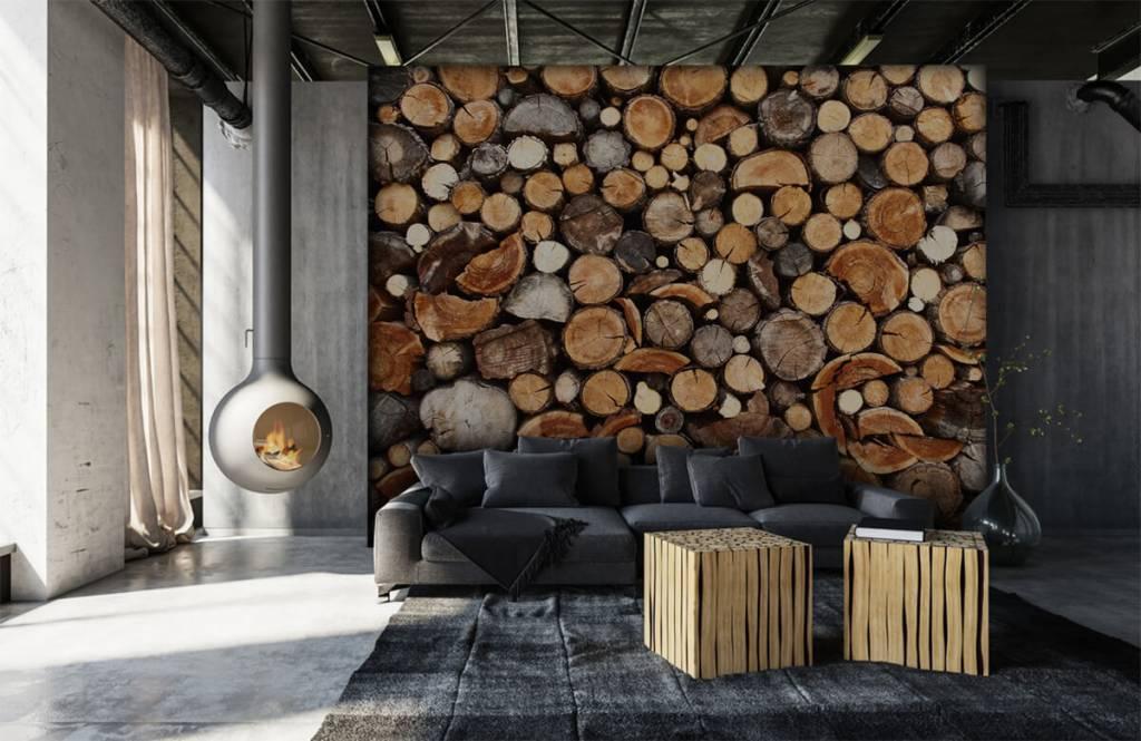 Wooden wallpaper - Stacked tree trunks - Living room 1