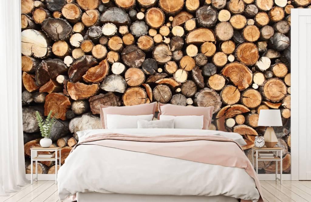 Wooden wallpaper - Stacked tree trunks - Living room 2