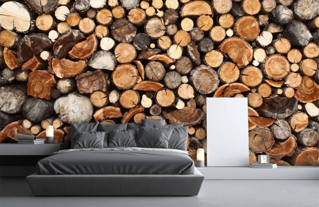 Wooden wallpaper - Stacked tree trunks - Living room 3