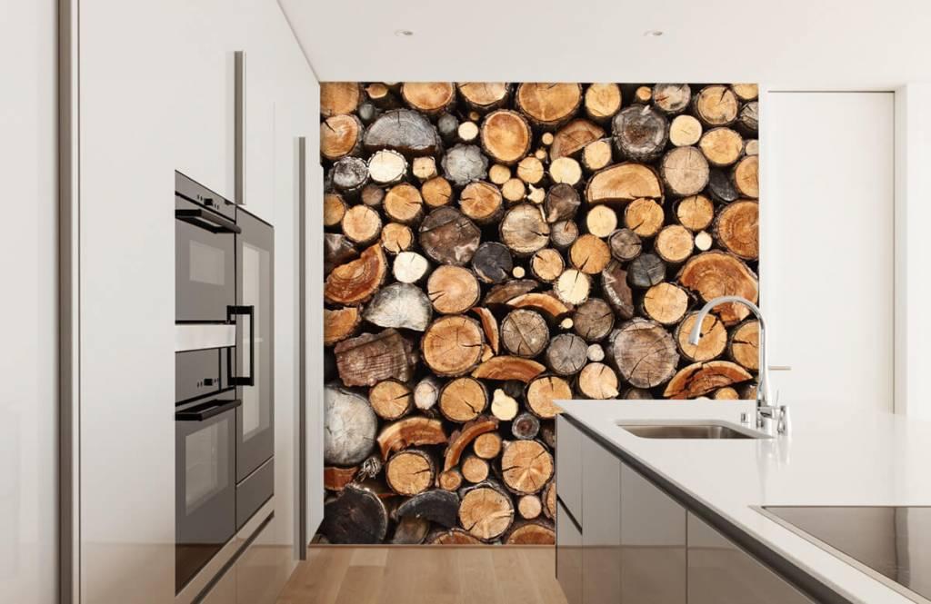 Wooden wallpaper - Stacked tree trunks - Living room 4