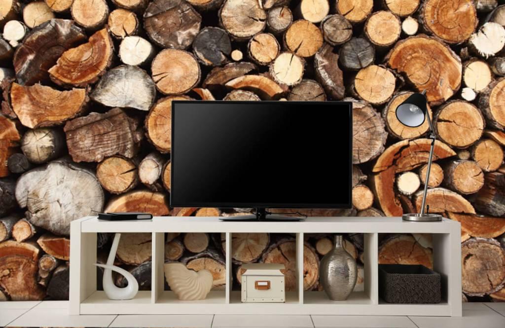 Wooden wallpaper - Stacked tree trunks - Living room 5