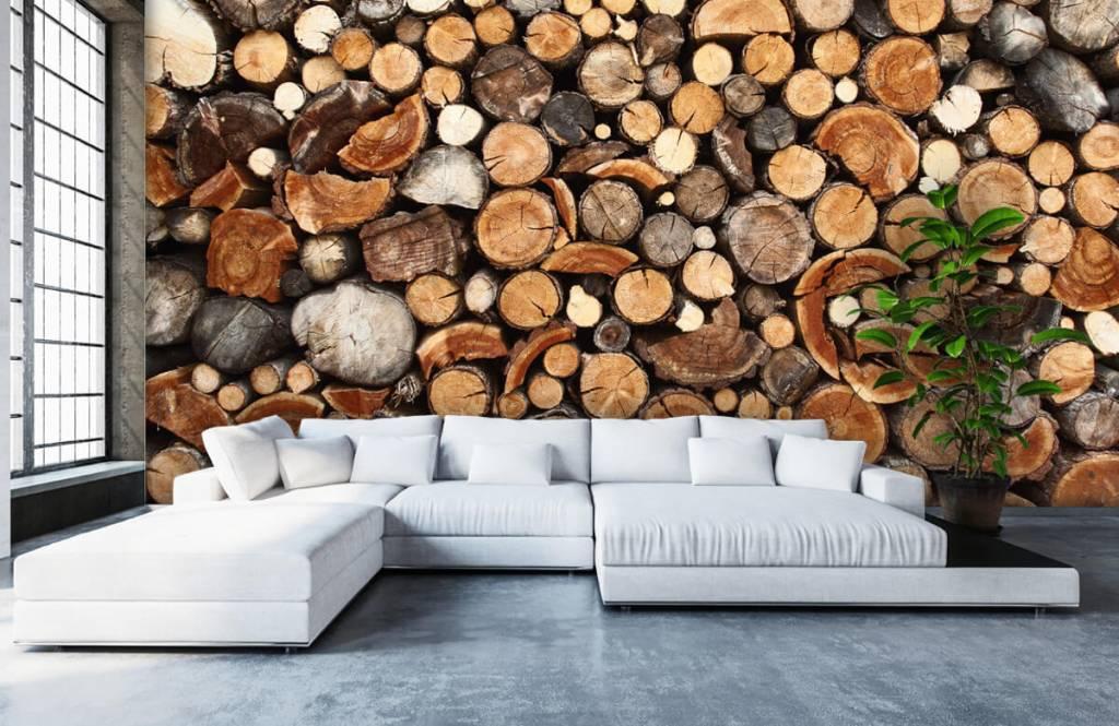 Wooden wallpaper - Stacked tree trunks - Living room 6