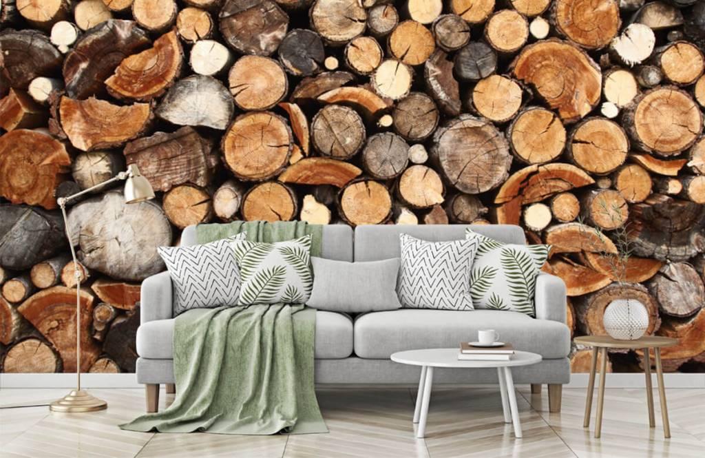 Wooden wallpaper - Stacked tree trunks - Living room 7