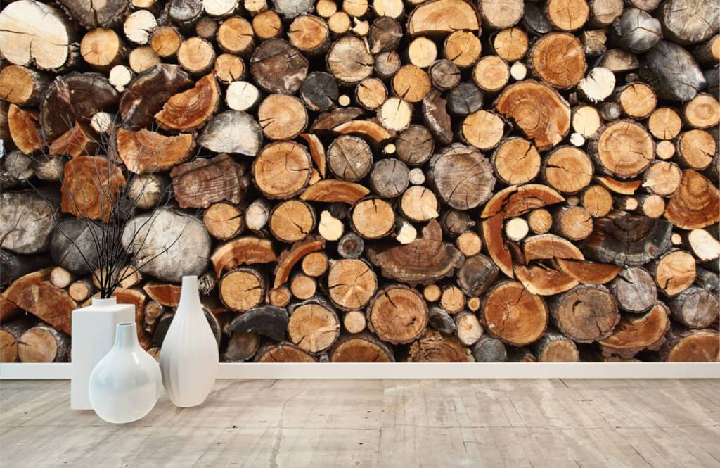 Wooden wallpaper - Stacked tree trunks - Living room 8