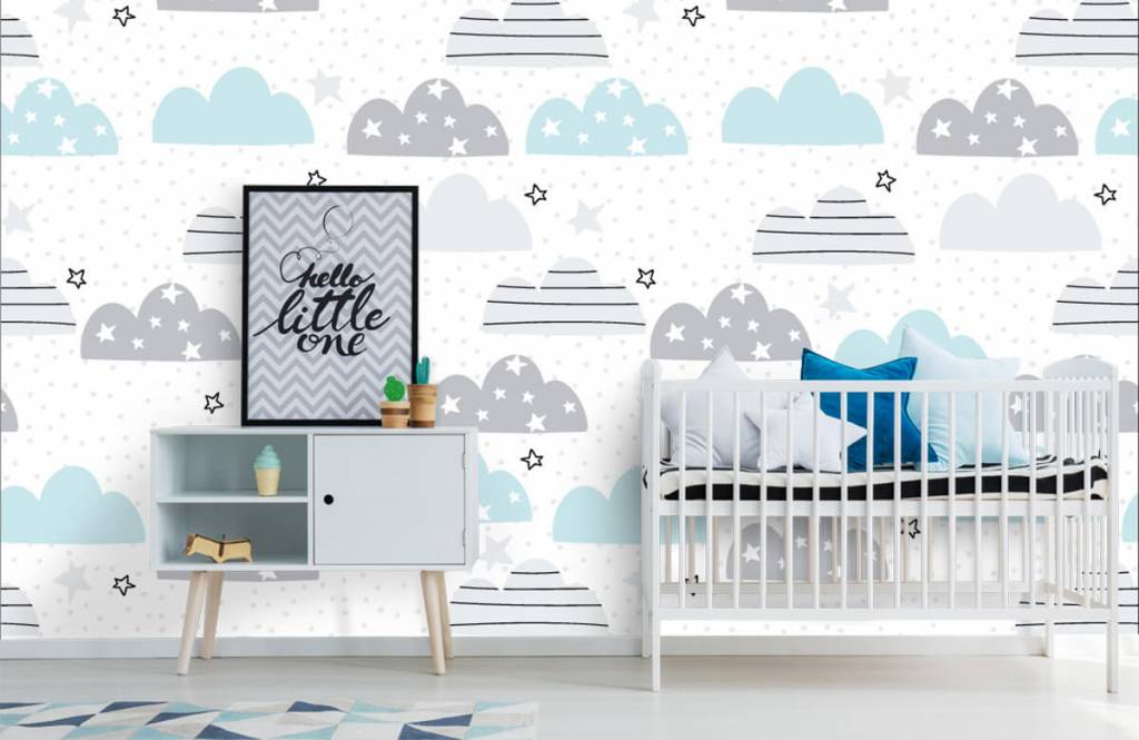 Baby wallpaper - Drawn clouds - Baby room 1