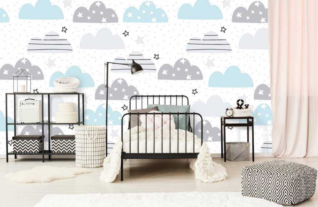 Baby wallpaper - Drawn clouds - Baby room 2