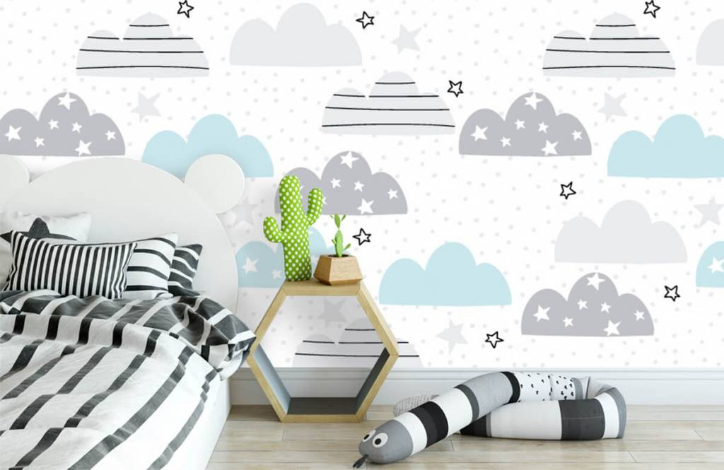 Baby wallpaper - Drawn clouds - Baby room 3