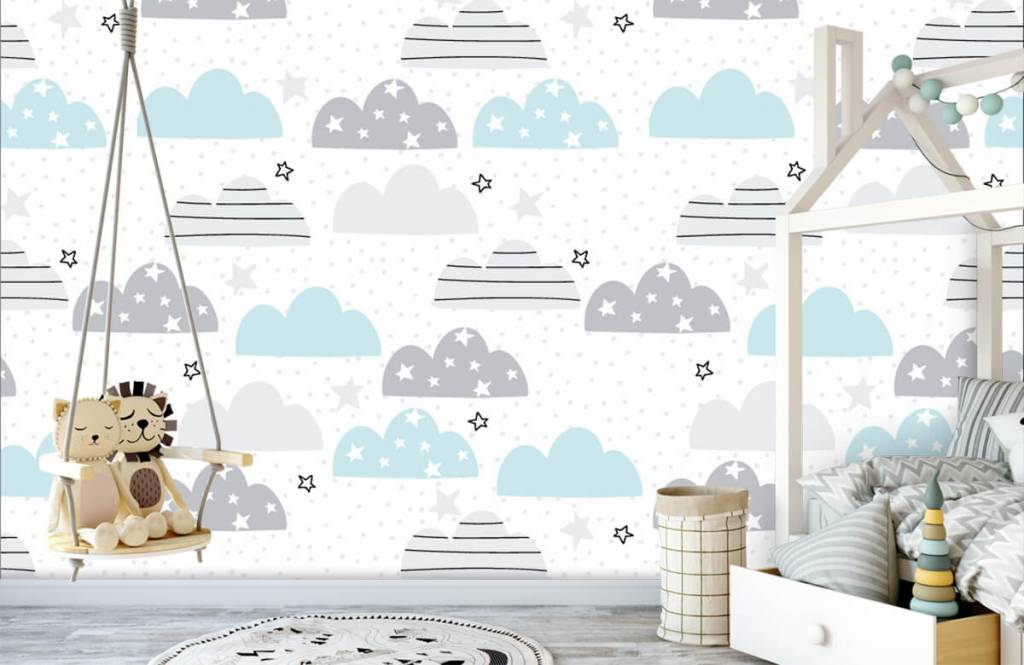 Baby wallpaper - Drawn clouds - Baby room 4