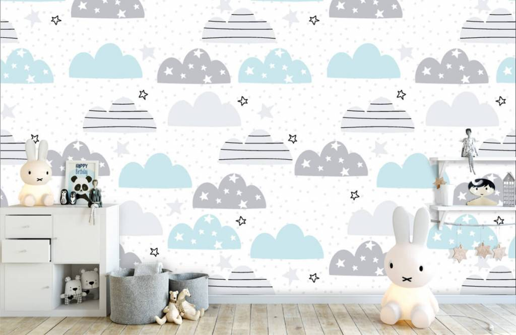 Baby wallpaper - Drawn clouds - Baby room 5