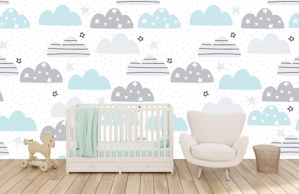 Baby wallpaper - Drawn clouds - Baby room 6