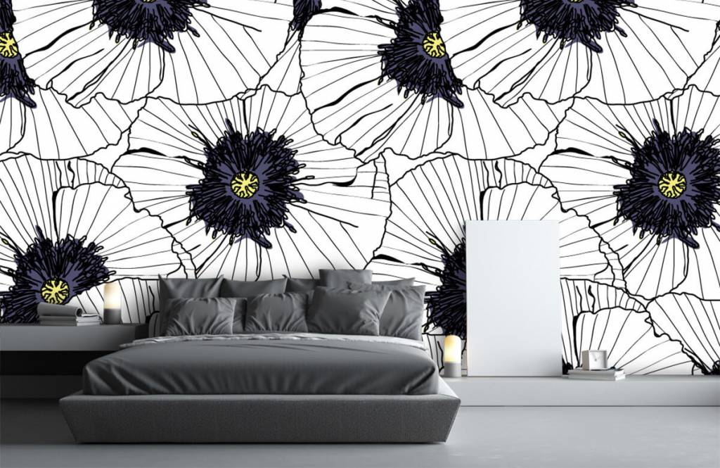Patterns for Kidsroom - Graphic poppies - Bedroom 3