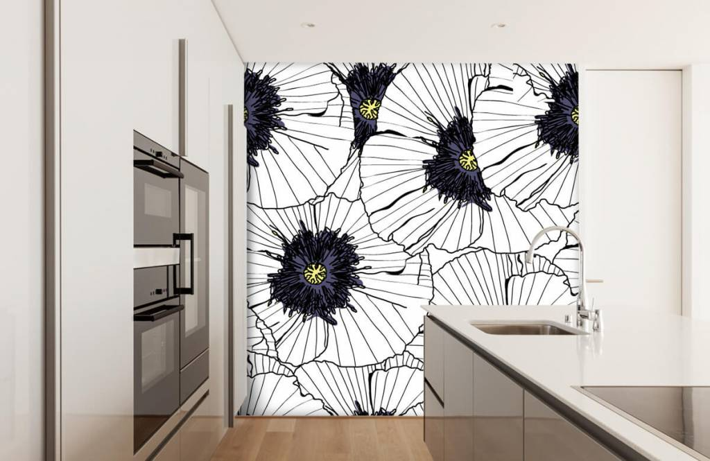 Patterns for Kidsroom - Graphic poppies - Bedroom 4
