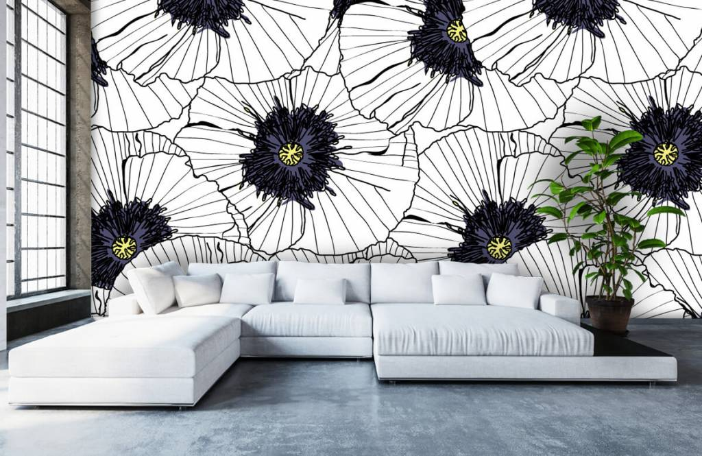 Patterns for Kidsroom - Graphic poppies - Bedroom 5