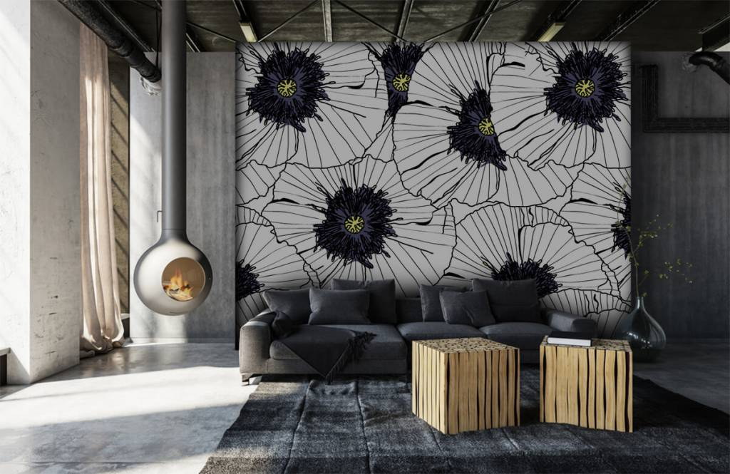 Patterns for Kidsroom - Graphic poppies - Bedroom 6