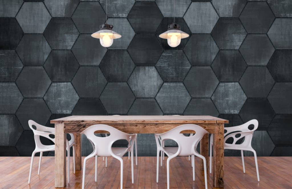 Stone wallpaper - Grey stone hexagons - Warehouse 1