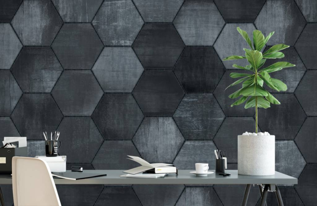 Stone wallpaper - Grey stone hexagons - Warehouse 2