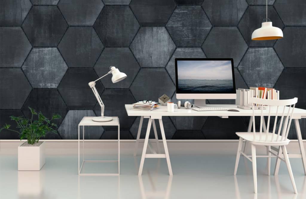 Stone wallpaper - Grey stone hexagons - Warehouse 3