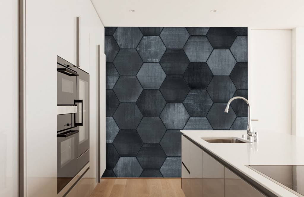 Stone wallpaper - Grey stone hexagons - Warehouse 4