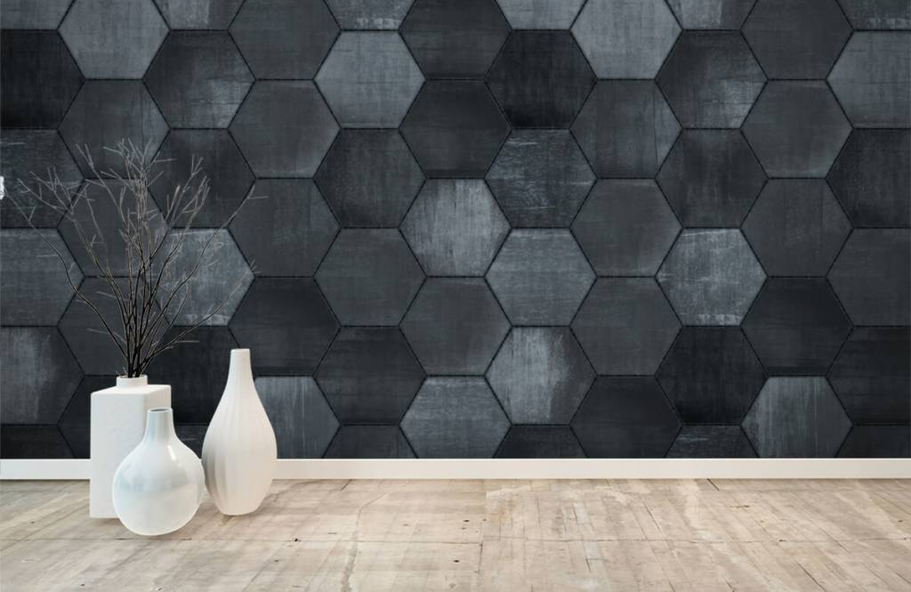 Stone wallpaper - Grey stone hexagons - Warehouse 6