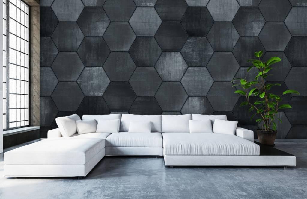 Stone wallpaper - Grey stone hexagons - Warehouse 7