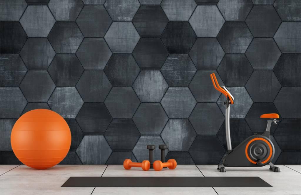 Stone wallpaper - Grey stone hexagons - Warehouse 8