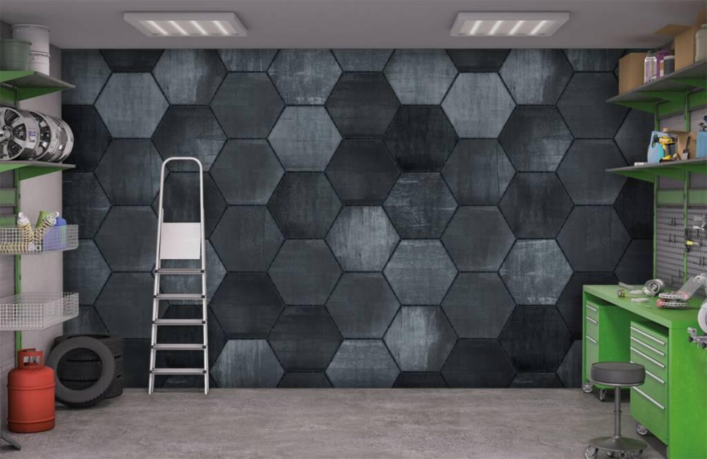 Stone wallpaper - Grey stone hexagons - Warehouse 9