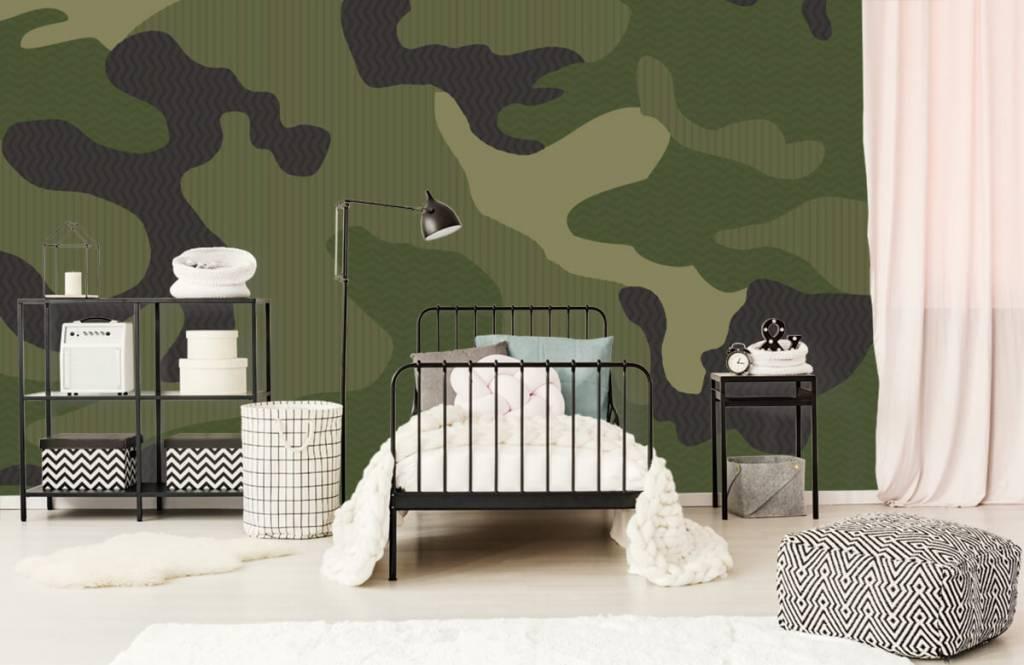 Children's wallpaper - Green camouflage - Children's room 1