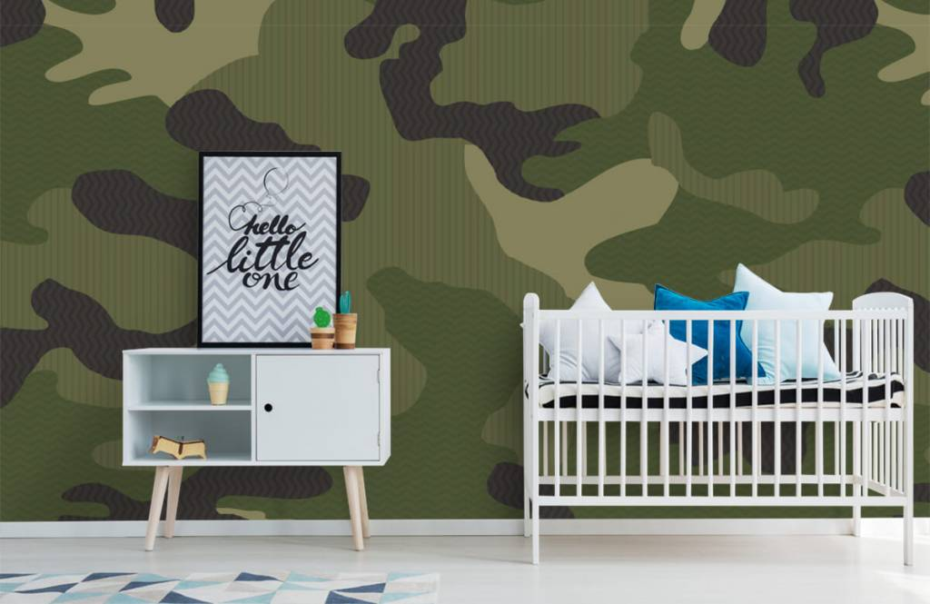 Children's wallpaper - Green camouflage - Children's room 2