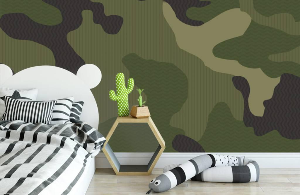 Children's wallpaper - Green camouflage - Children's room 3