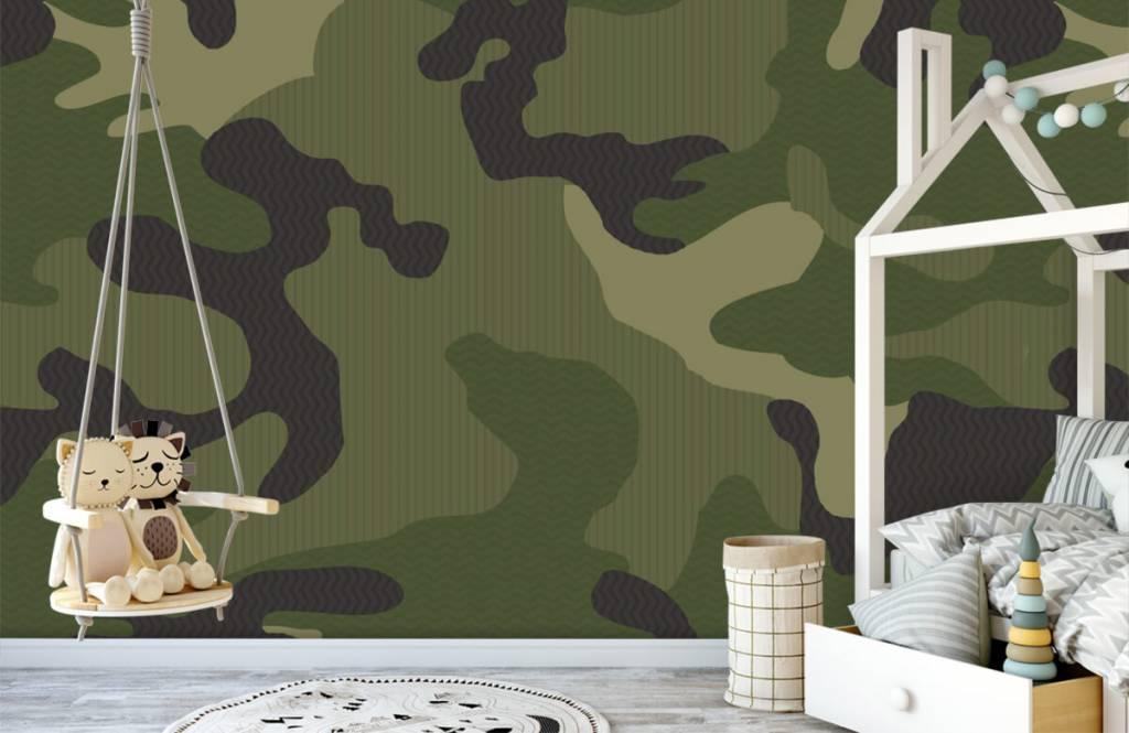 Children's wallpaper - Green camouflage - Children's room 4