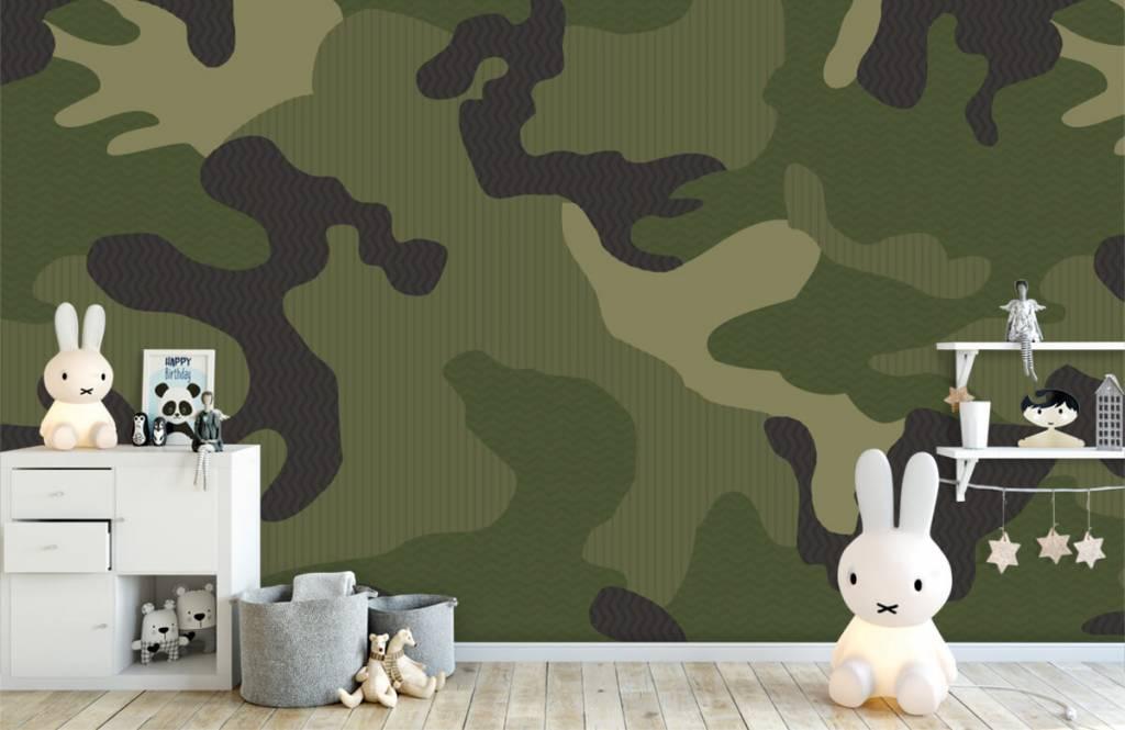 Children's wallpaper - Green camouflage - Children's room 5